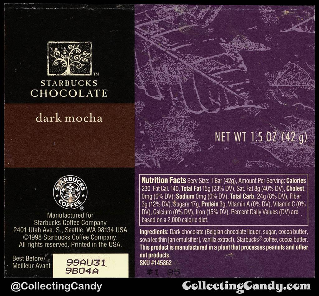Starbucks Chocolate - Dark Mocha - 1.5 oz chocolate candy bar wrapper - 1998