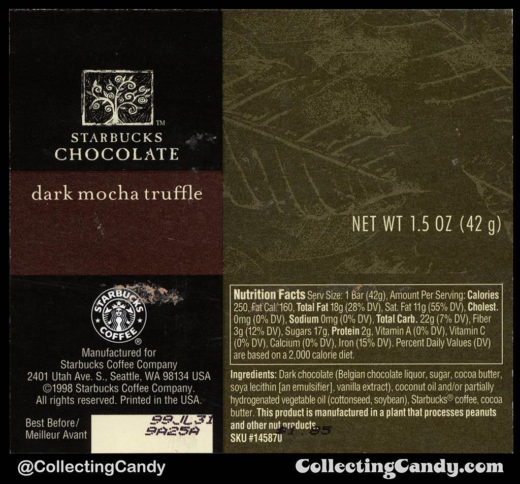 Starbucks Chocolate - Dark Mocha Truffle - 1.5 oz chocolate candy bar wrapper - 1998