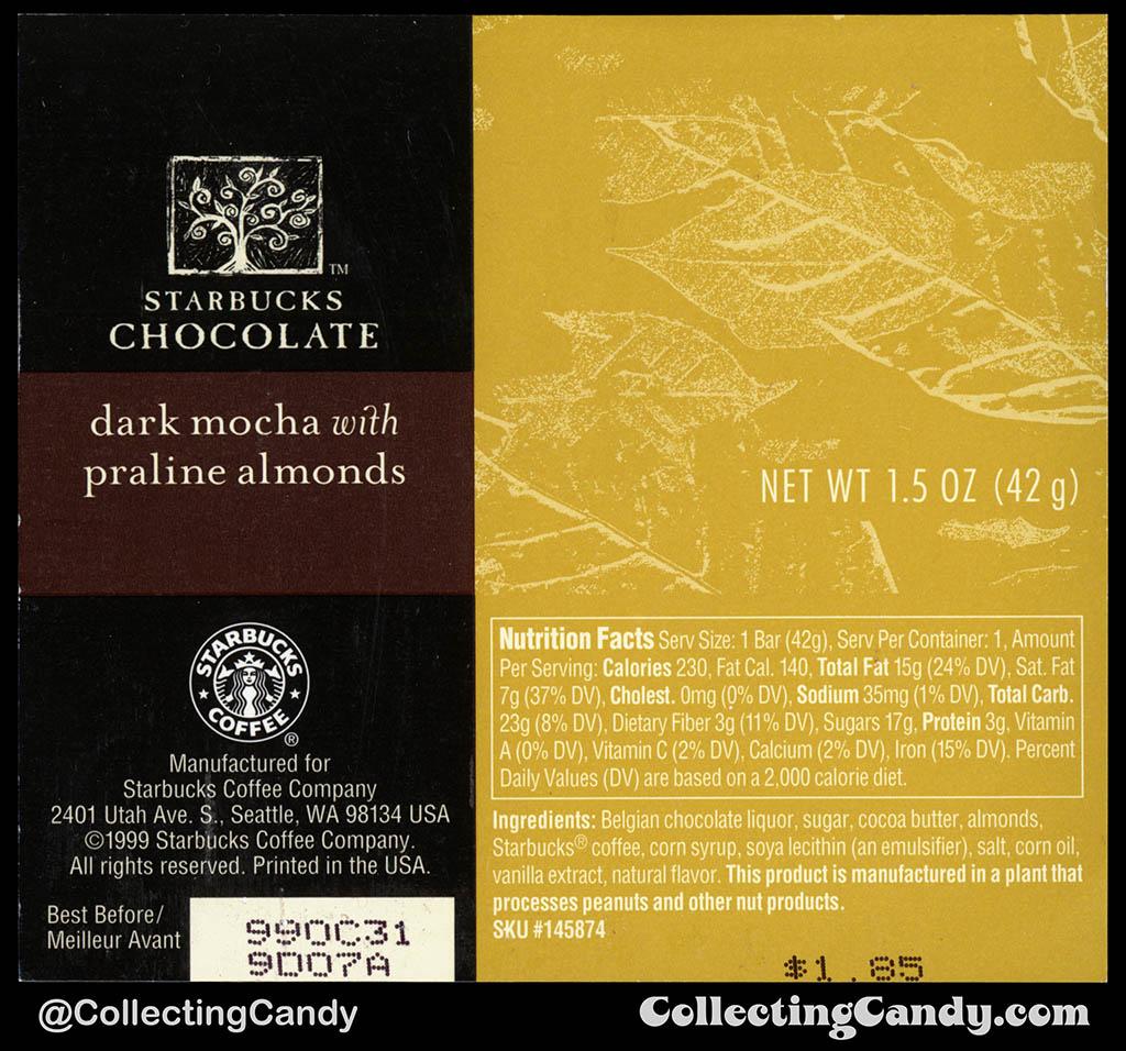 Starbucks Chocolate - Dark Mocha with Praline Almonds - 1.5 oz chocolate candy bar wrapper - 1999
