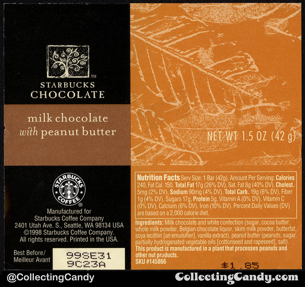 Starbucks Chocolate - Milk Chocolate with Peanut Butter - 1.5oz chocolate candy bar wrapper - 1998