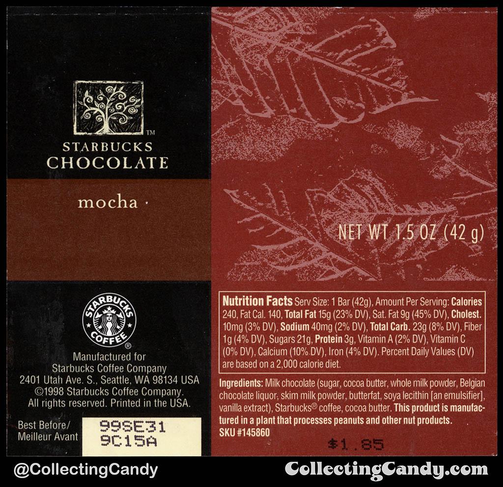 Starbucks Chocolate - Mocha - 1.5 oz chocolate candy bar wrapper - 1998