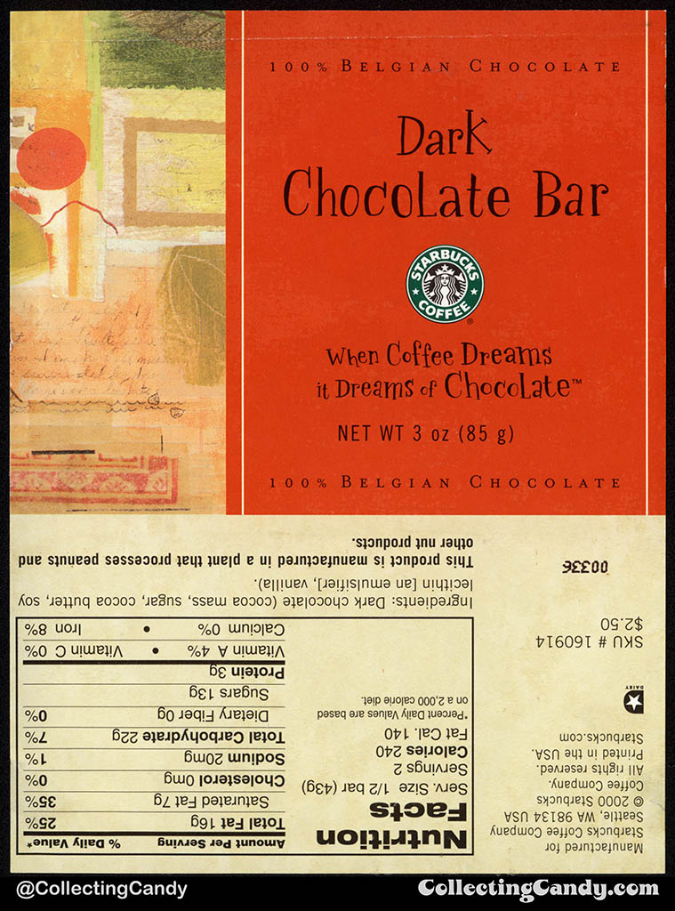 Starbucks Coffee Company - Dark Chocolate Bar - 3oz chocolate candy bar wrapper - 2000
