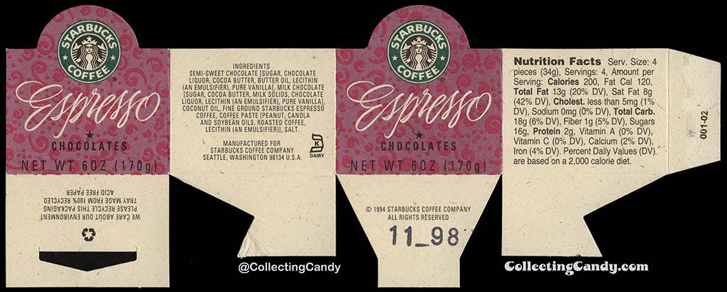 Starbucks Coffee - Espresso Chocolates - 6oz chocolate cardboard band label - 1994