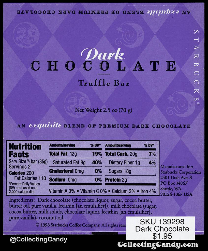 Starbucks - Dark Chocolate Truffle Bar - 2.5 oz chocolate candy bar wrapper - 1998