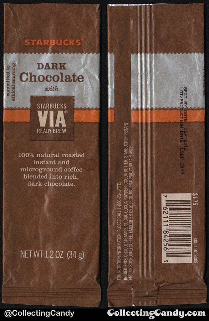 Starbucks - Dark Chocolate with VIA Ready Brew coffee beans - 1.2 oz chocolate candy package - 2010