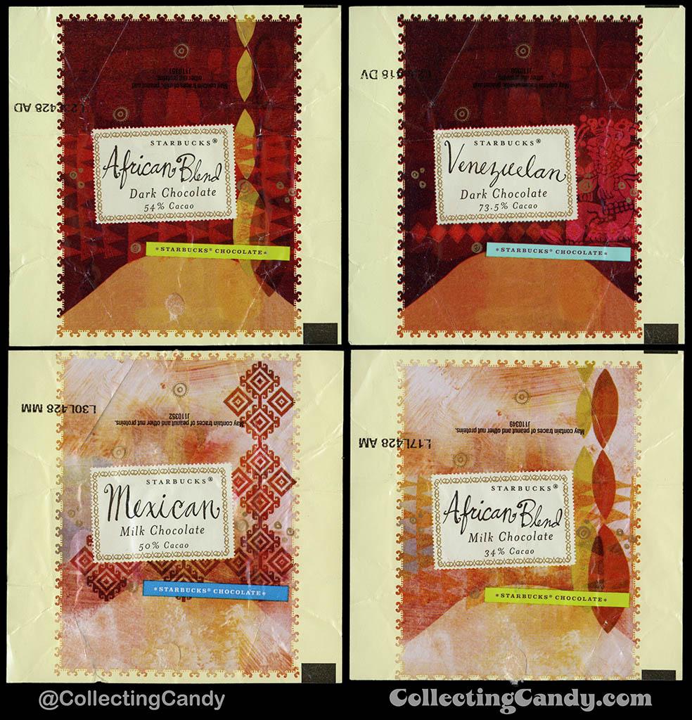 Starbucks Origin chocolates - African Blend Dark 54, Venezuelan Dark 73_5, Mexican Milk, African Blend Milk - wrappers - 2004