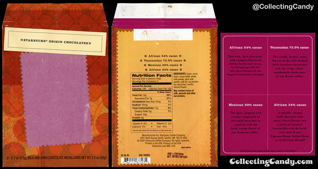 Starbucks Origin chocolates - Outer sleeve 2.4 oz package and insert card - 2004