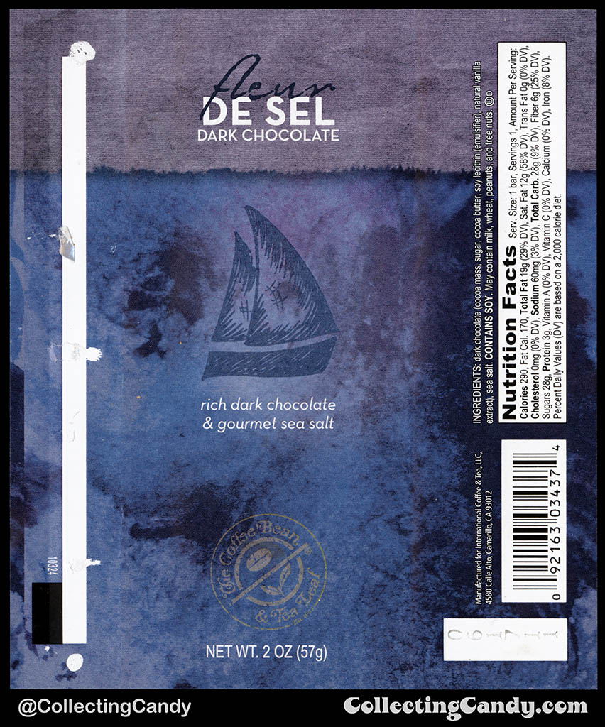 The Coffee Bean & Tea Leaf - Fluer De Sel Dark Chocolate - 2oz chocolate candy bar wrapper - 2010