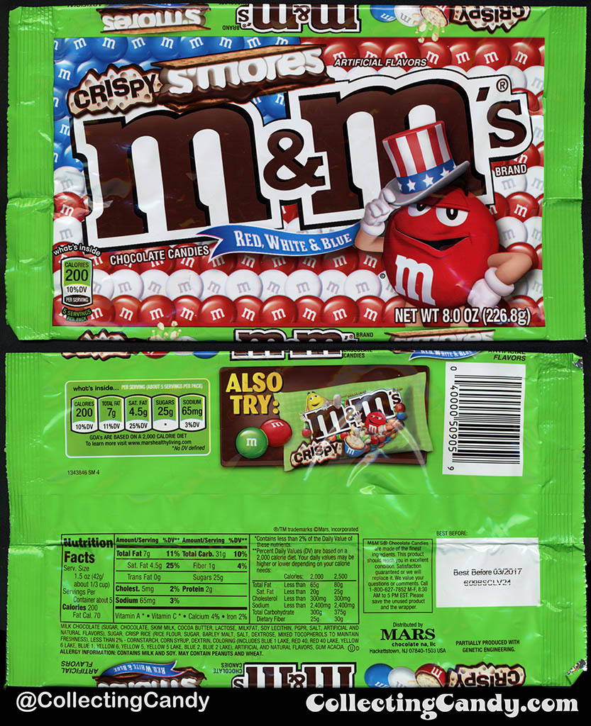 Mars - Crispy S'mores M&M's Red White & Blue - Target Exclusive packaging - 8oz 4th of July candy package bag - 2016