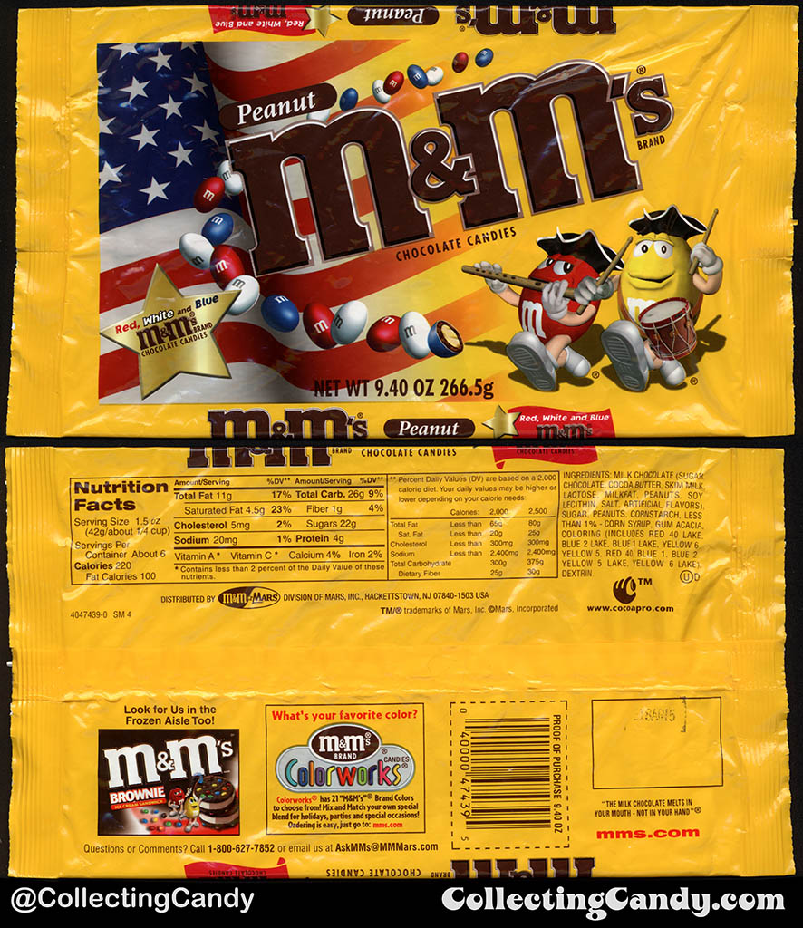 CC_Mars - M&M's Peanut - 4th of July Red White Blue - 9.4oz candy bag package - 2002