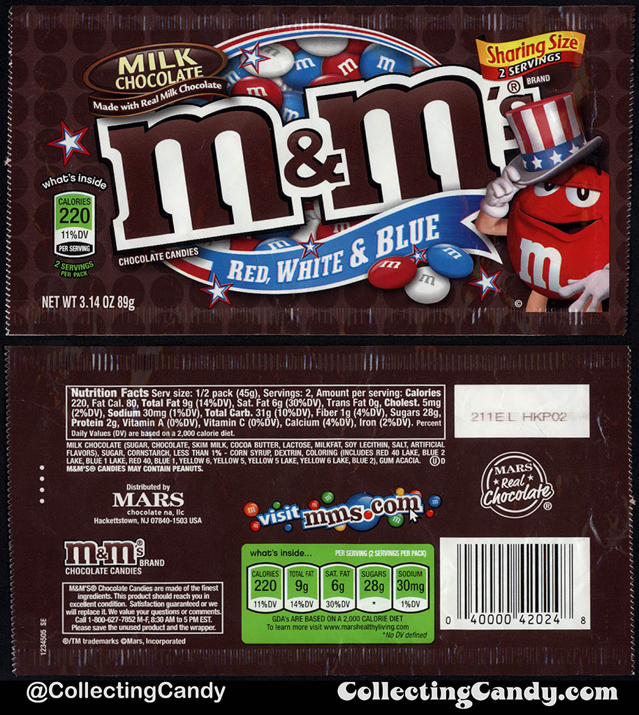 Mars - Milk Chocolate M&M's Red White & Blue - Sharing Size - 3.14oz 4th of July candy package bag - 2012
