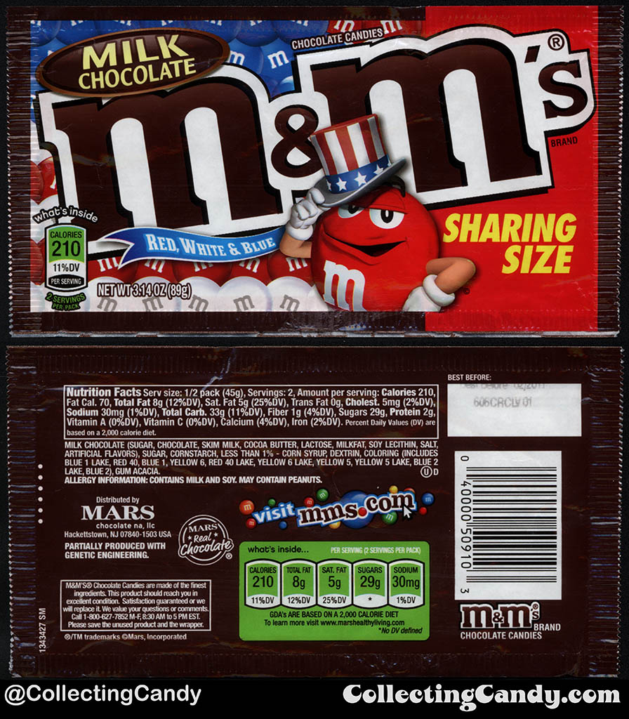 Mars - Milk Chocolate M&M's Red White & Blue - Sharing Size - 3.14oz 4th of July candy package bag - 2016