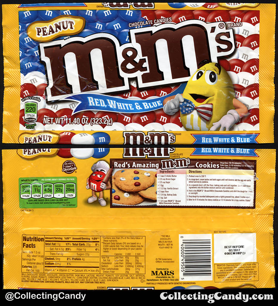 Mars - Peanut M&M's Red White & Blue - 11.4oz 4th of July candy package bag - 2016