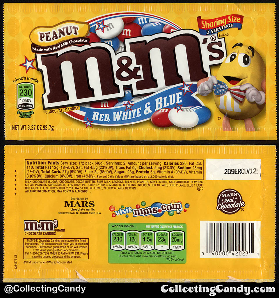 Mars - Peanut M&M's Red White & Blue - Sharing Size - 3.27oz 4th of July candy package bag - 2012