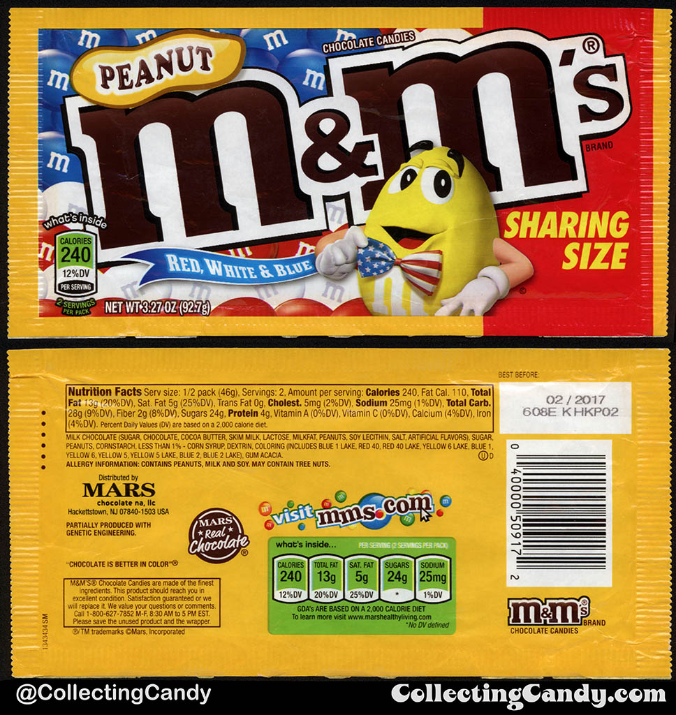 Mars - Peanut M&M's Red White & Blue - Sharing Size - 3.27oz 4th of July candy package bag - 2016
