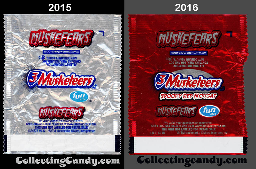 3-Musketeers Muskefears 2015 v 2016 fun size wrapper comparison
