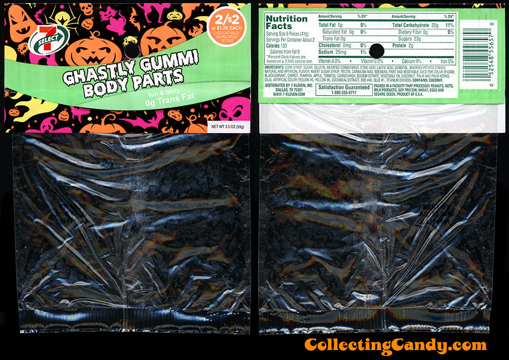 7-Eleven - 7-Select - Halloween Ghastly Gummi Body Parts - 3.5oz private label candy package - October 2015