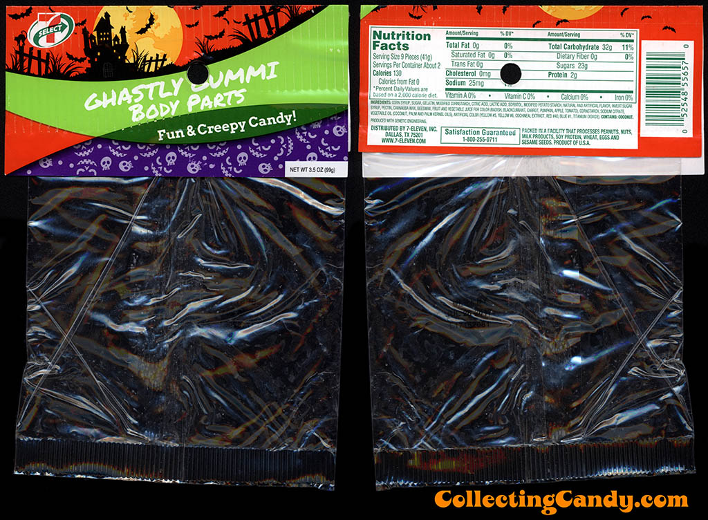7-Eleven - 7-Select - Halloween Ghastly Gummi Body Parts - 3.5oz private label candy package - October 2016