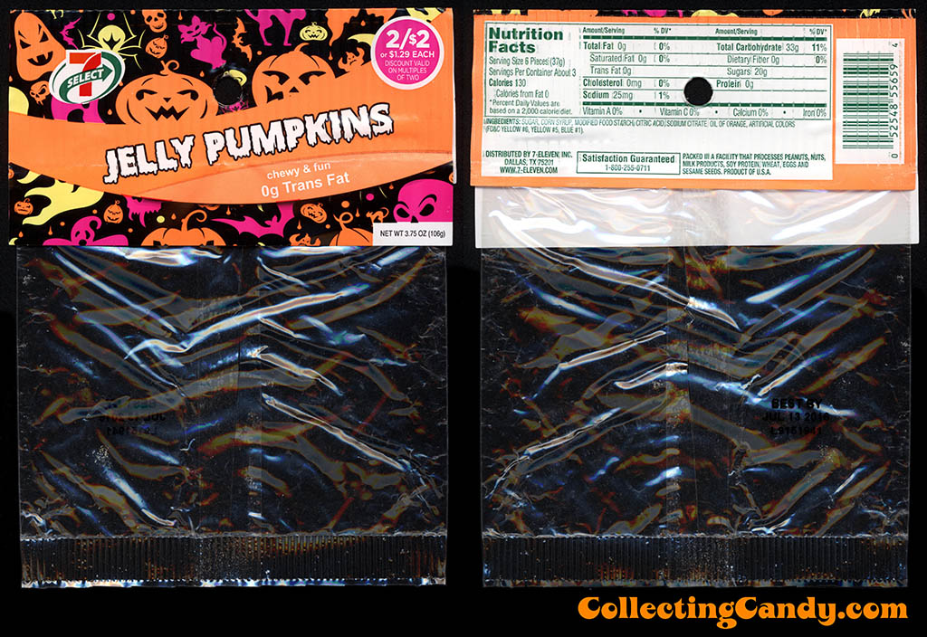 7-Eleven - 7-Select - Halloween Jelly Pumpkins - 3.75oz private label candy package - October 2015
