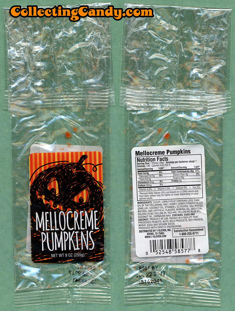 7-Eleven - Halloween Mellocreme Pumpkins - 9 oz private label candy package - October 2016