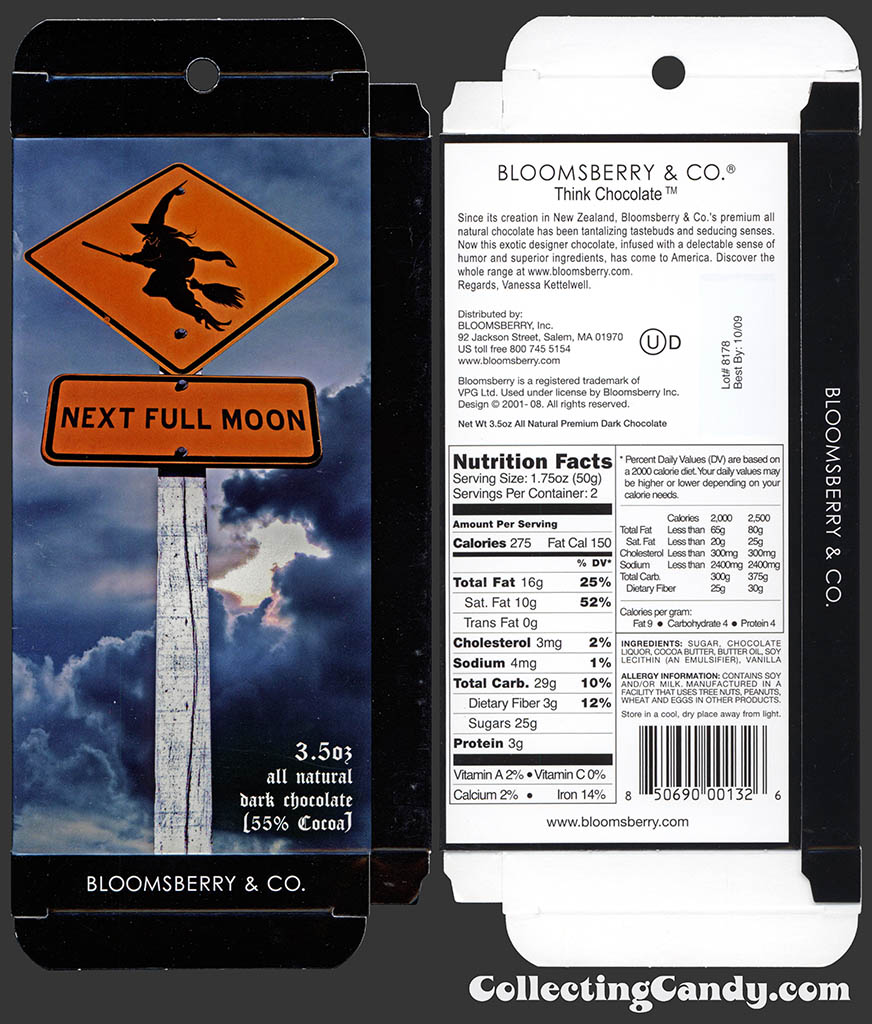 Bloomsberry & Co - Think Chocolate - Next Full Moon - 3.5 oz milk chocolate Halloween box package - October 2008