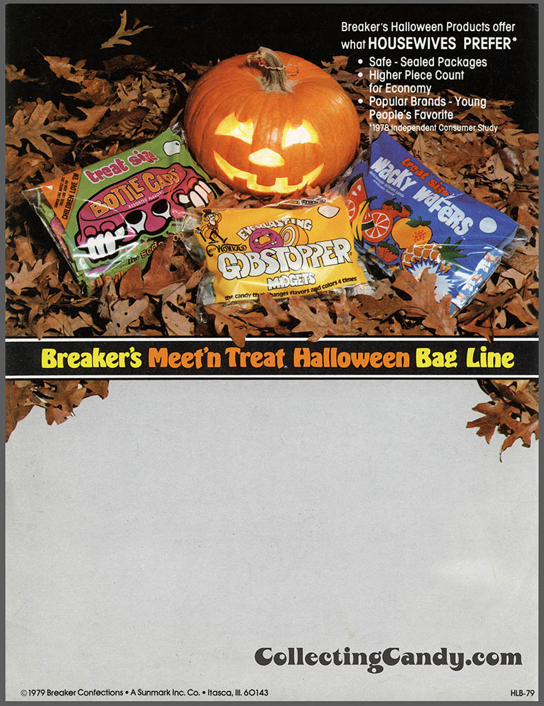 Breaker Confections 1979 Meet 'n Treat Halloween Bag Line promo flyer