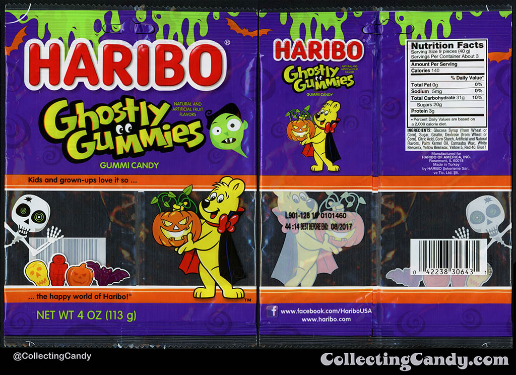 Haribo of America - Ghostly Gummies - 4 oz Halloween gummi candy package - October 2016