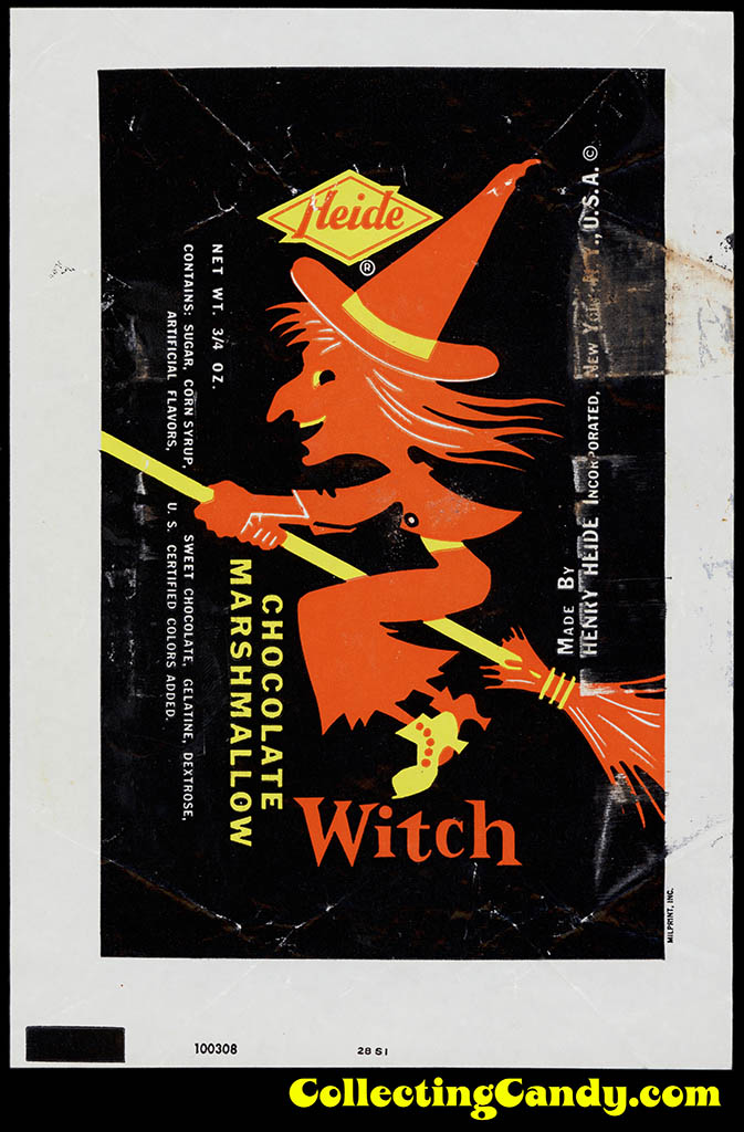 Heide - Chocolate Marshmallow Witch - 3/4 oz Halloween candy bar wrapper - 1950's 1960's