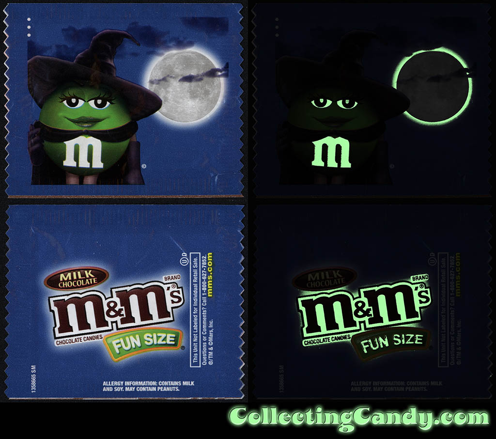 Mars - M&M's Glow-in-the-Dark Walgreens Exclusive Trick-or-Treat Fun-Size pack - Green Witch - October 2016 - GLOW