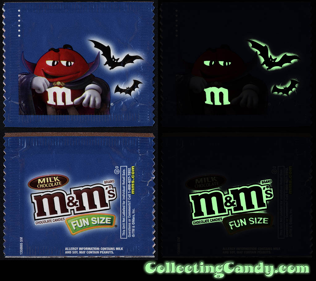 Mars - M&M's Glow-in-the-Dark Walgreens Exclusive Trick-or-Treat Fun-Size pack - Red Vampire - October 2016 - GLOW