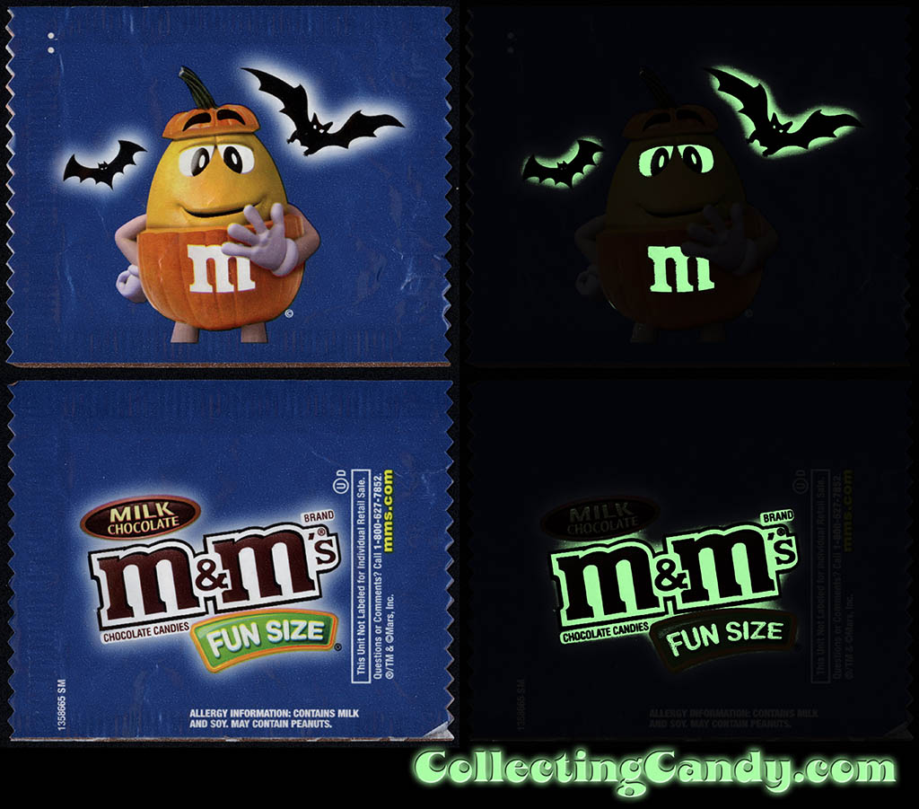 Mars - M&M's Glow-in-the-Dark Walgreens Exclusive Trick-or-Treat Fun-Size pack - Yellow Pumpkin - October 2016 - GLOW