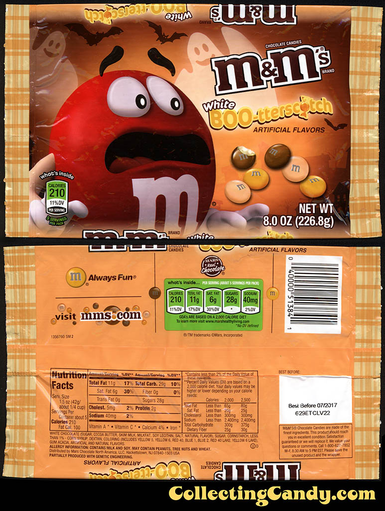 Mars - M&M's White Boo-terscotch - Target exclusive butterscotch Halloween flavor - 8oz candy package - September 2016