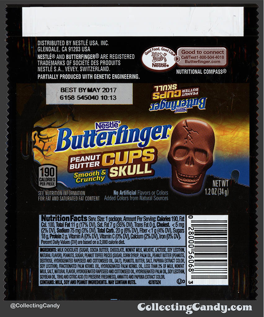 Nestle - Butterfinger Peanut Butter Cups Skull - 1_2 Halloween candy package wrapper - October 2016