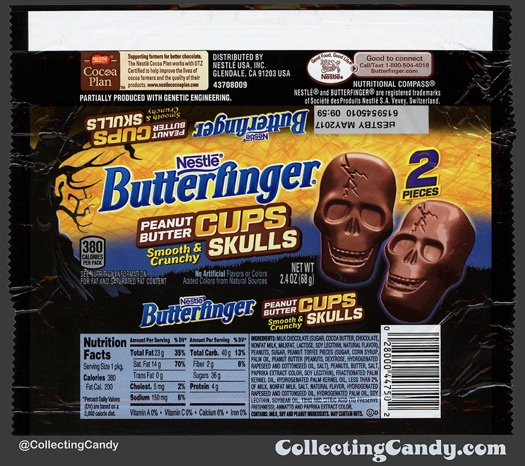Nestle - Butterfinger Peanut Butter Cups Skulls - 2-piece - 2_4 Halloween candy package wrapper - October 2016