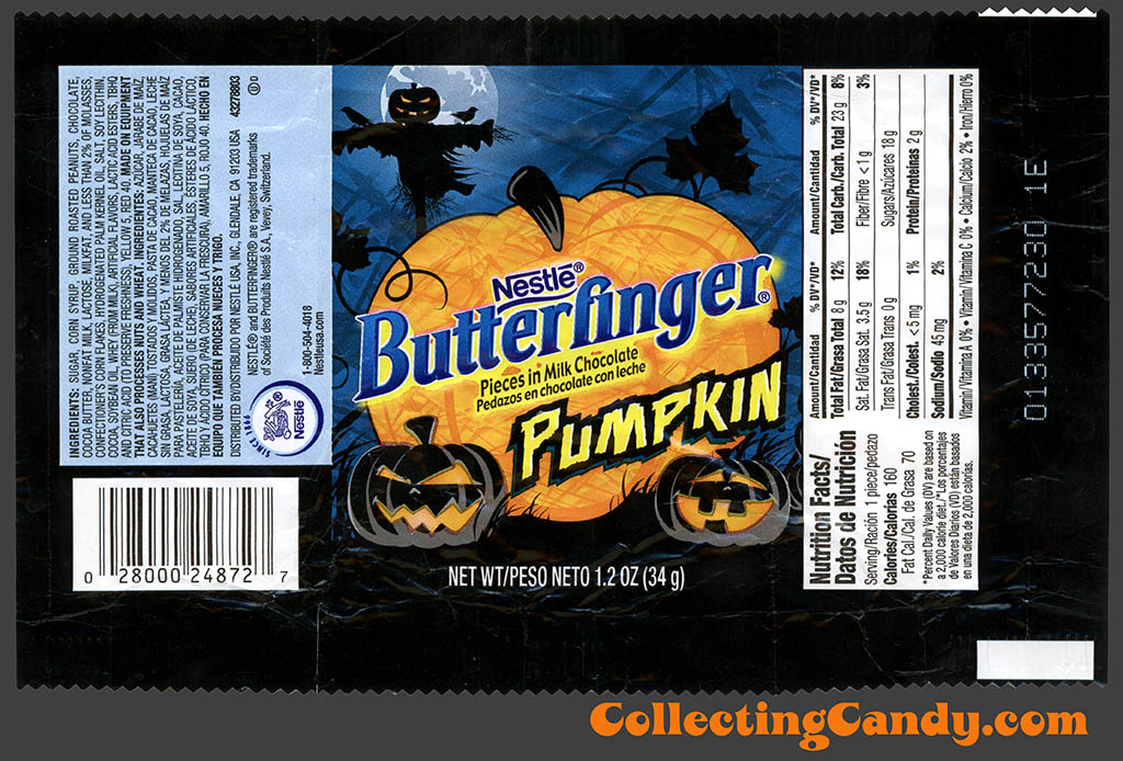 Nestle - Butterfinger Pumpkin - 1.2 oz Halloween candy wrapper - 2010