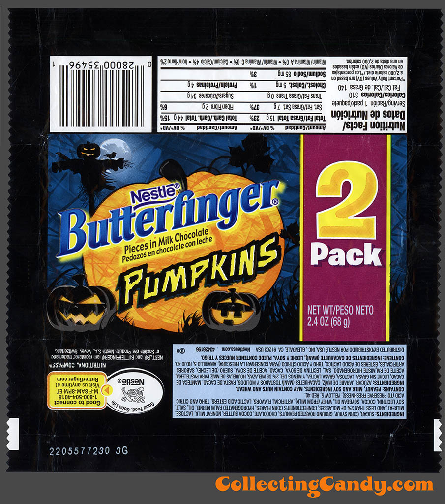 Nestle - Butterfinger Pumpkin 2 Piece - 2.4 oz Halloween candy wrapper - 2011