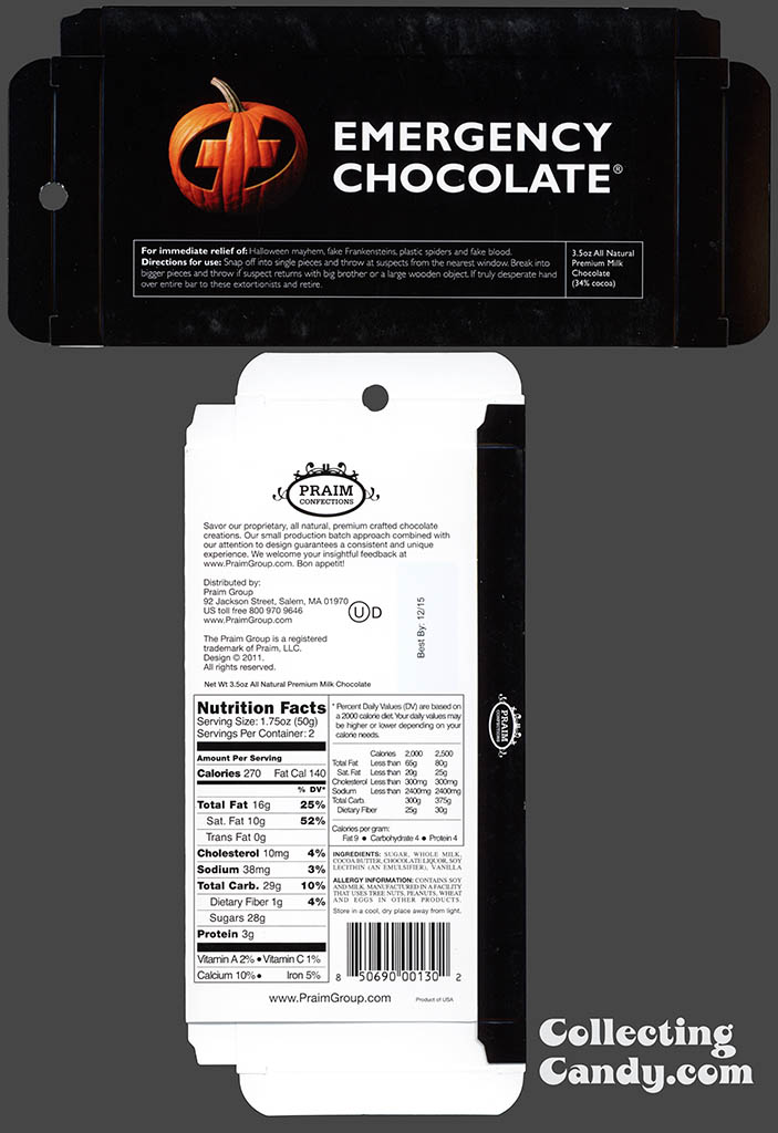 Praim - Emergency Chocolate - 3.5 oz milk chocolate Halloween box package - October 2014