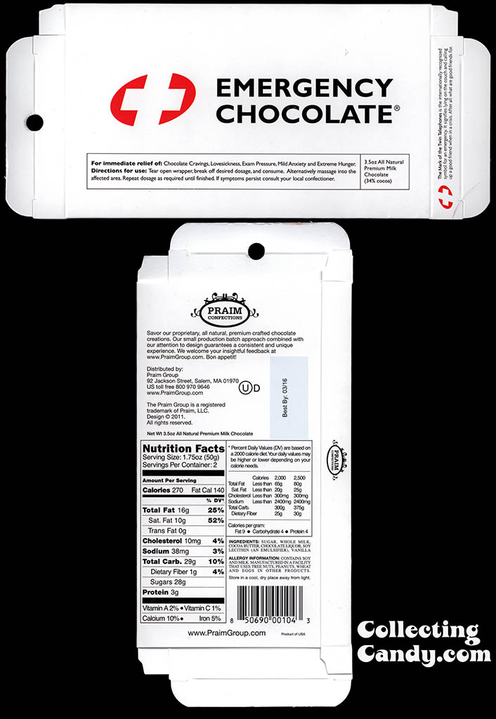 Praim - Emergency Chocolate White - 3.5 oz milk chocolate Valentine's box package - 2015