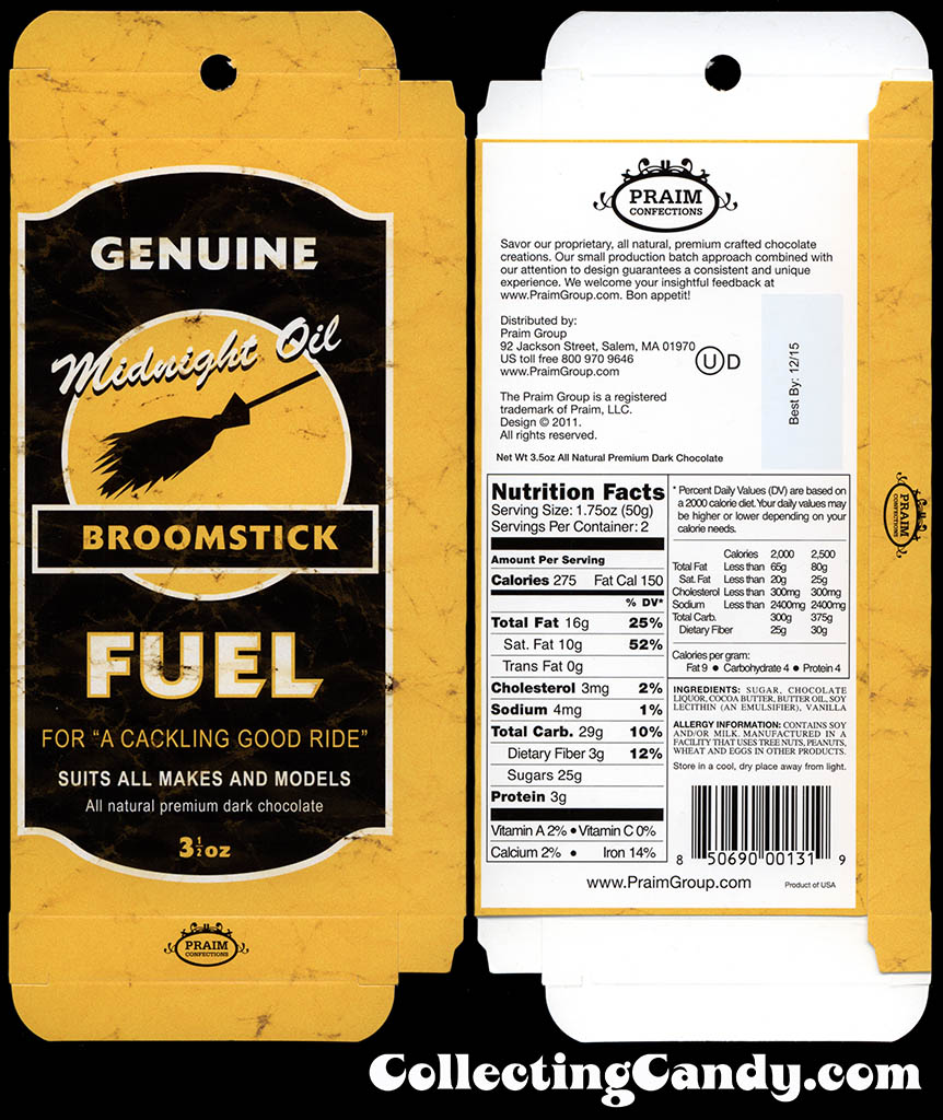 Praim - Midnight Oil Broomstick Fuel - 3.5 oz milk chocolate Halloween box package - October 2014