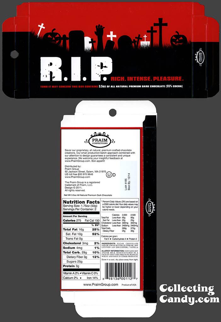 Praim - RIP Rich Intense Pleasure - 3_5 oz milk chocolate Halloween box package - October 2013