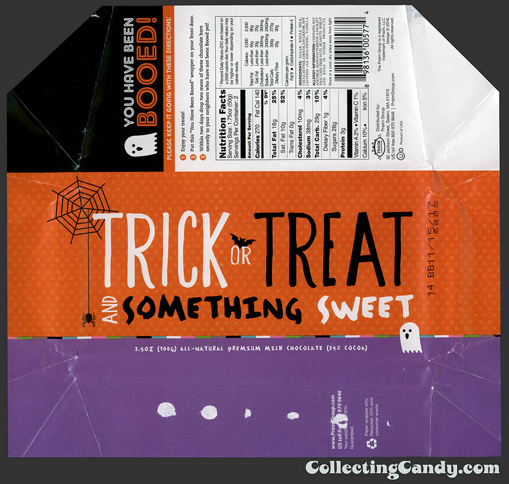 Praim - Trick or Treat and Something Sweet - Booed - 3.5 oz milk chocolate Halloween wrapper - October 2016