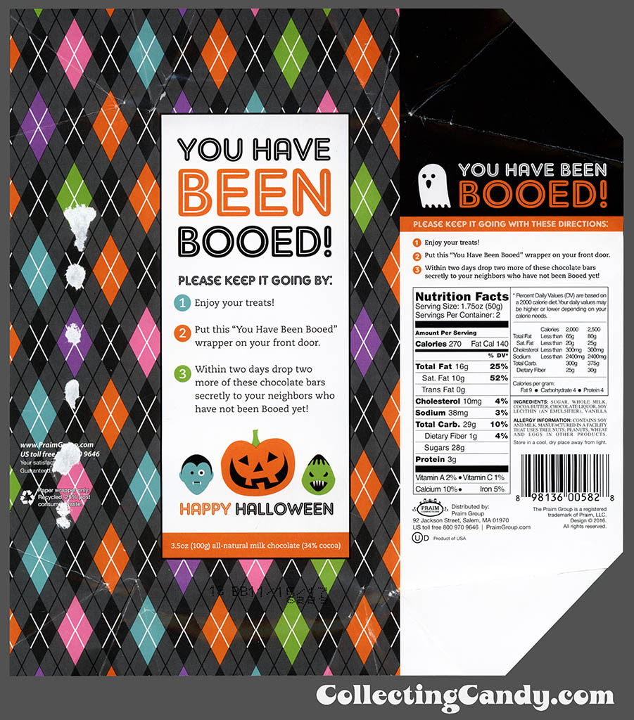 Praim - You Have Been Booed - 3.5 oz milk chocolate Halloween wrapper - October 2016