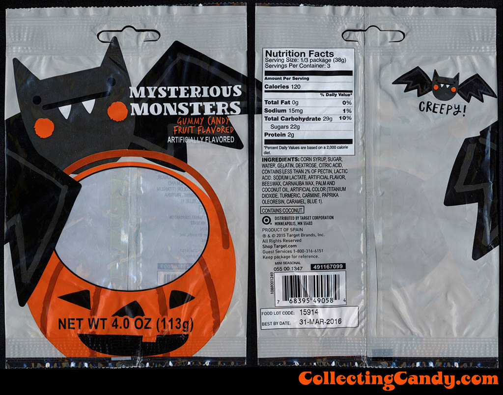 Target - Mysterious Monsters Gummy Candy - 4 oz Halloween candy package - October 2015