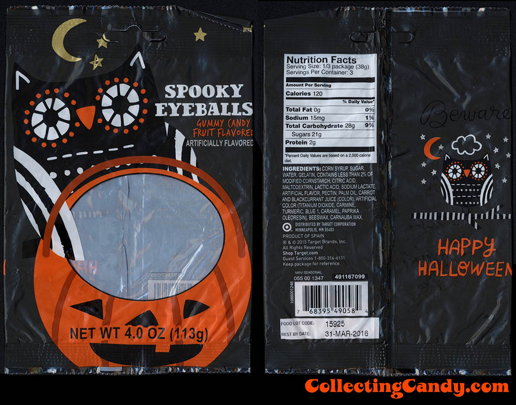 Target - Spooky Eyeballs Gummy Candy - 4 oz Halloween candy package - October 2015