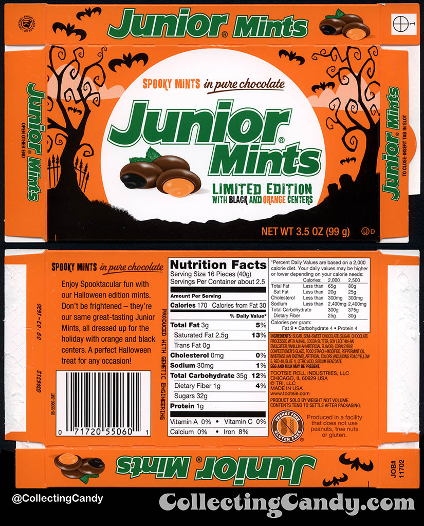Tootsie Roll Industries - Junior Mints - Limited Spooky Edition - 3_5 oz Halloween candy package box - October 2016