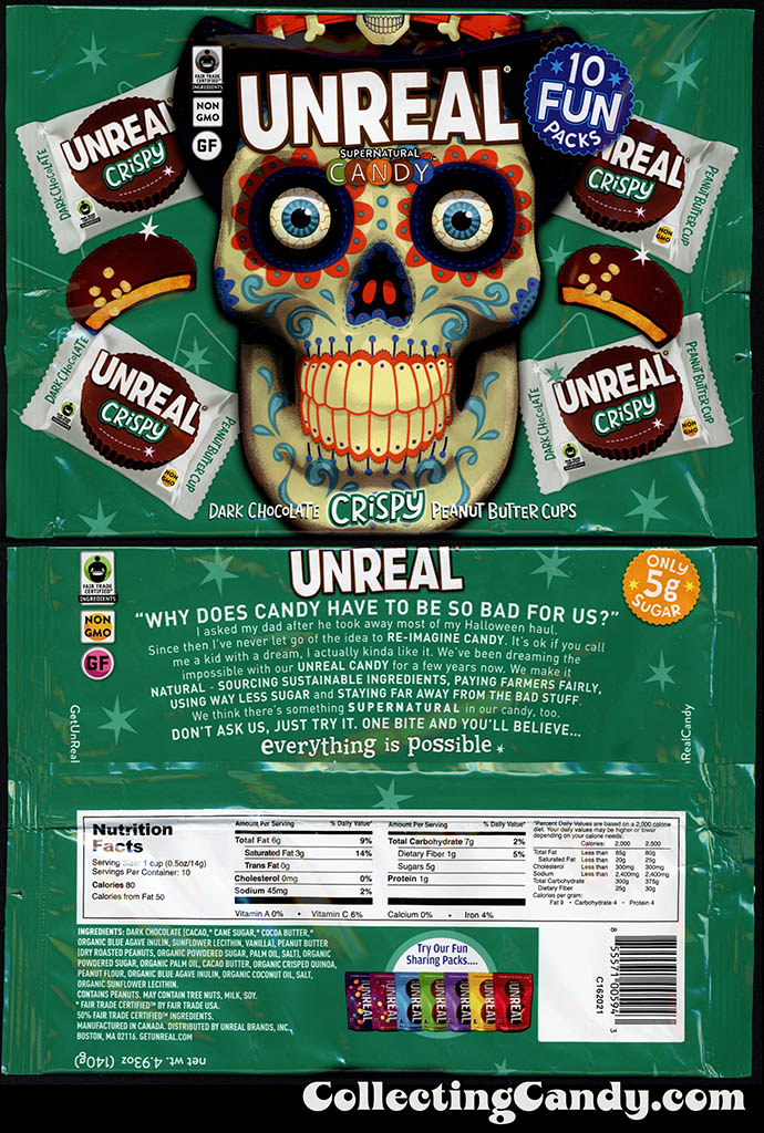 Unreal Supernatural Candy - Dark Chocolate Crispy Peanut Butter Cups - Halloween Day of the Dead 10 Pack - candy packaging - October 2016