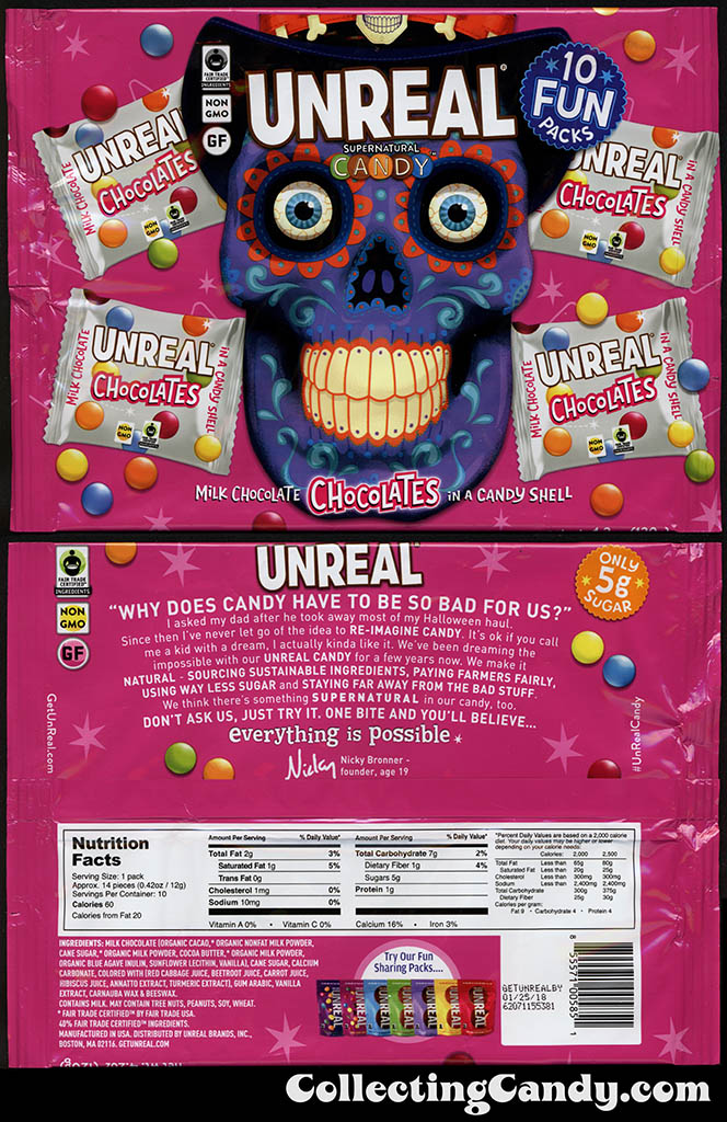 Unreal Supernatural Candy - Milk Chocolate Chocolates in a Candy Shell - Halloween Day of the Dead 10 Pack - candy packaging - October 2016