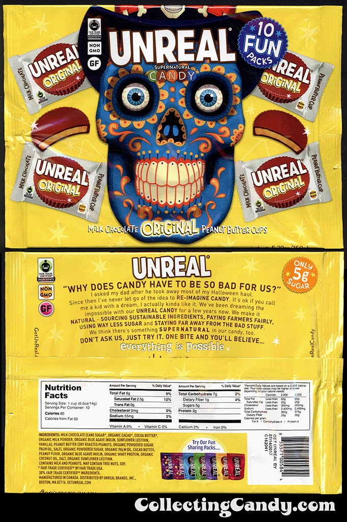 Unreal Supernatural Candy - Milk Chocolate Peanut Butter Cups - Halloween Day of the Dead 10 Pack - candy packaging - October 2016