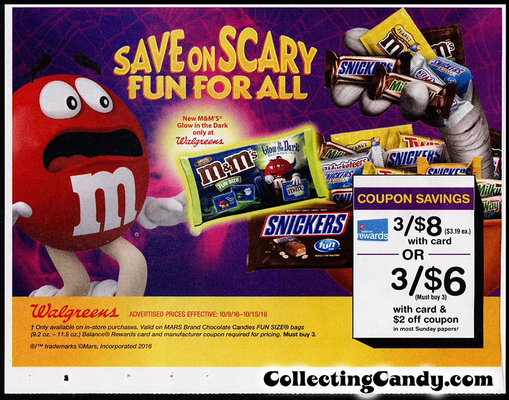 Walgreens Save on Scary Fun For All - Sunday Circular Halloween Mars candy ad - October 2nd 2016