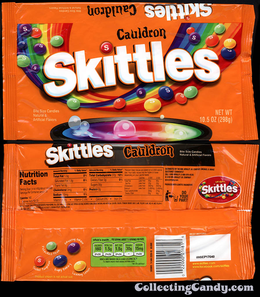Wrigley - Cauldron Skittles - 10.5oz Halloween candy package wrapper - October 2016